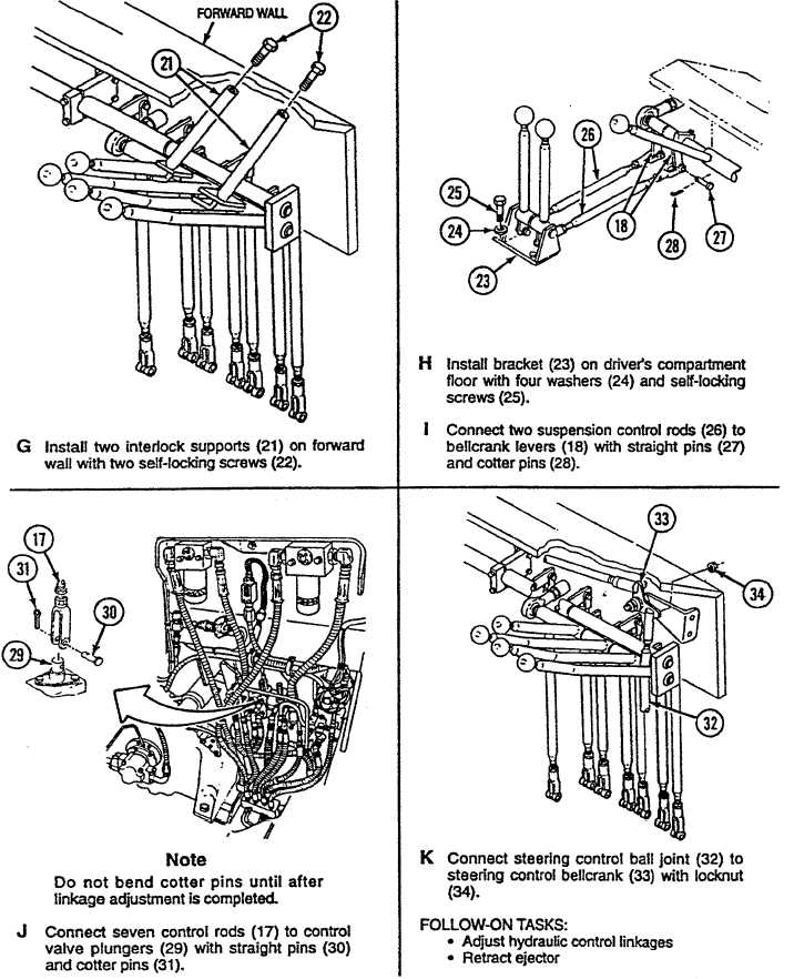 Hydraulic Control Linkage : Hydraulic control levers bellcranks and linkage