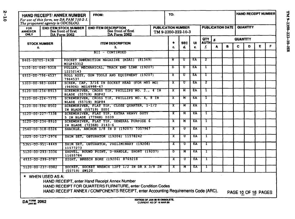 HAND RECEIPT - TM-9-2350-222-10-HR_22